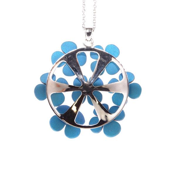 Collier oro bianco e 7 fiori blu (T001-BB)