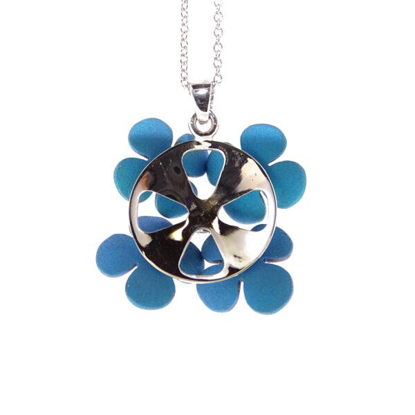 Collier oro bianco e 4 fiori blu (T002-BB)