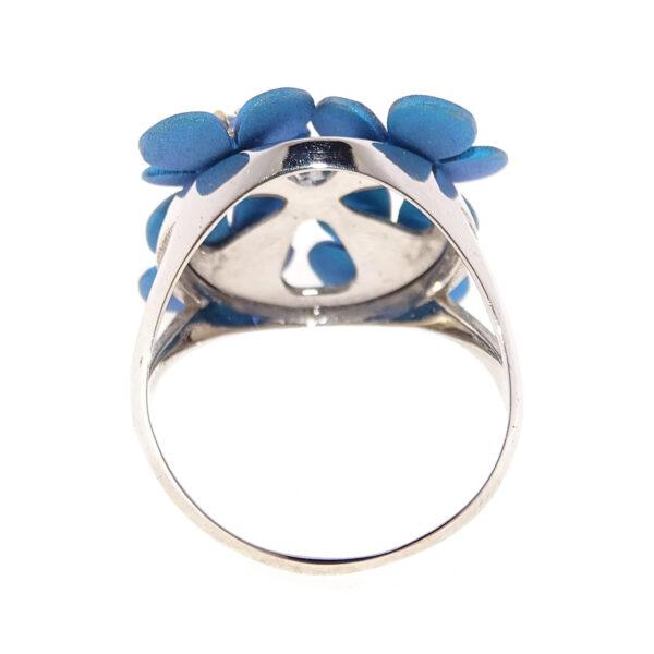 Anello oro bianco e fiori blu (T004-BB)