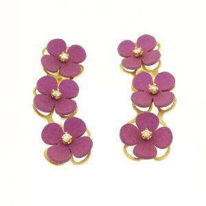 Orecchini oro giallo e fiori viola (T010-GR)