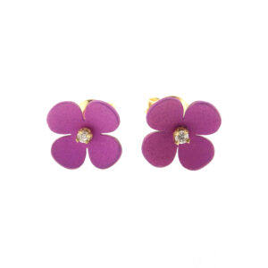Orecchini oro con fiore singolo viola (T022-GR)