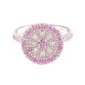 Anello Disco oro bianco con brillanti e zaffiri rosa (H121-Zr_An)