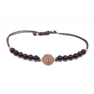 Bracciale oro rosa-brill neri-onici (E461_Br)