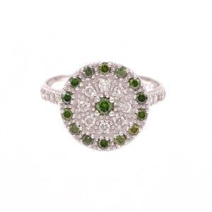 Anello Disco oro bianco con brillanti e diamanti verdi (H121-Ve_An)