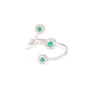 Anello trilogy Oro bianco microincassatura smeraldi (H080-S_An)