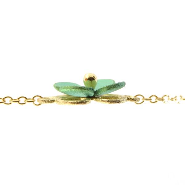 Bracciale oro giallo con fiore verde (T019-RV)