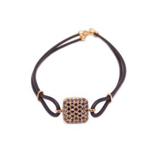 Bracciale oro rosa-brillanti neri-caucciù (E469_Br)
