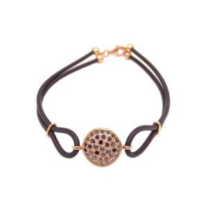 Bracciale oro rosa-brill neri-caucciù (E467_Br)