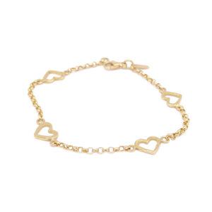 Bracciale oro giallo con 4 cuori (E145_Br)