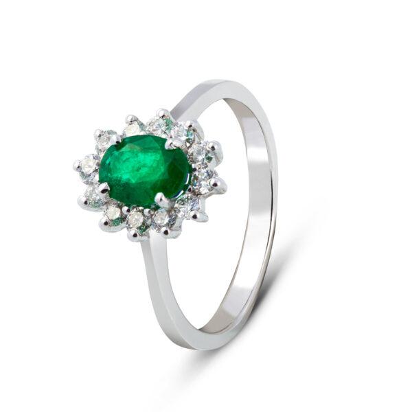 Anello Oro bianco con Smeraldo (H042.S_An)