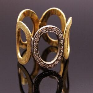 Anello argento dorato con zirconi (NA_E513_An)
