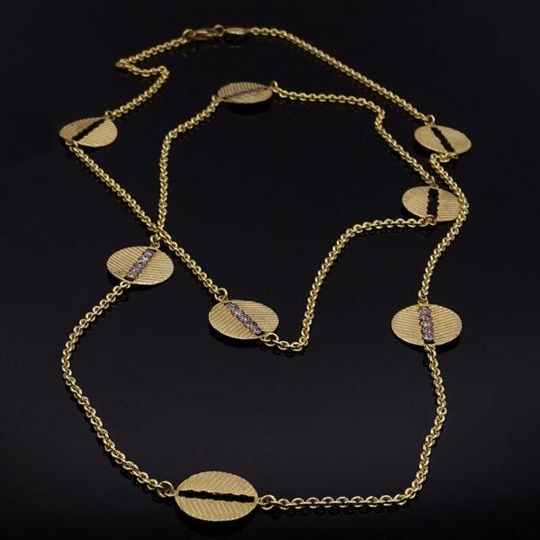 Catena con cerchi in argento dorato e zirconi (NA_E574_Co_O)