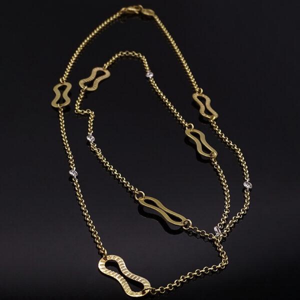 Catena fantasia in argento dorato e zirconi (NA_E575-A_Co)
