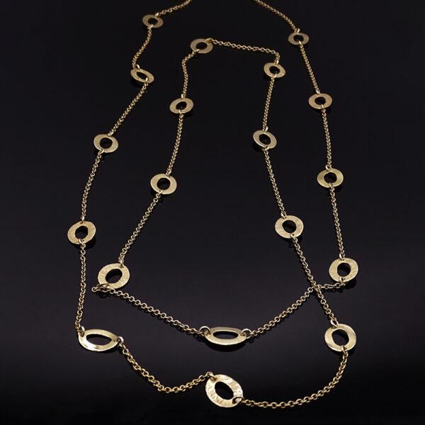 Catena con cerchi in argento dorato (NA_E510.a_Co_O)